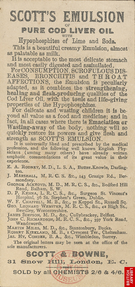 Advert for Scott's Emulsion of Pure Cod Liver Oil, reverse side